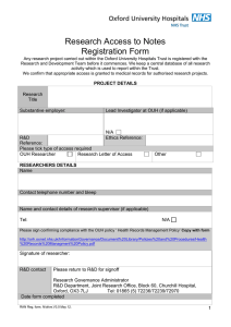 Research Access to Notes Registration Form