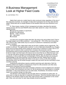 A Business Management Look at Higher Feed Costs