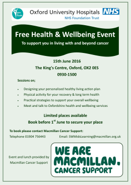 Free Health & Wellbeing Event 15th June 2016