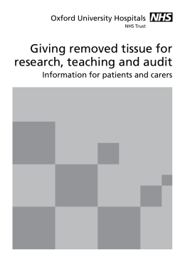 Giving removed tissue for research, teaching and audit Oxford University Hospitals