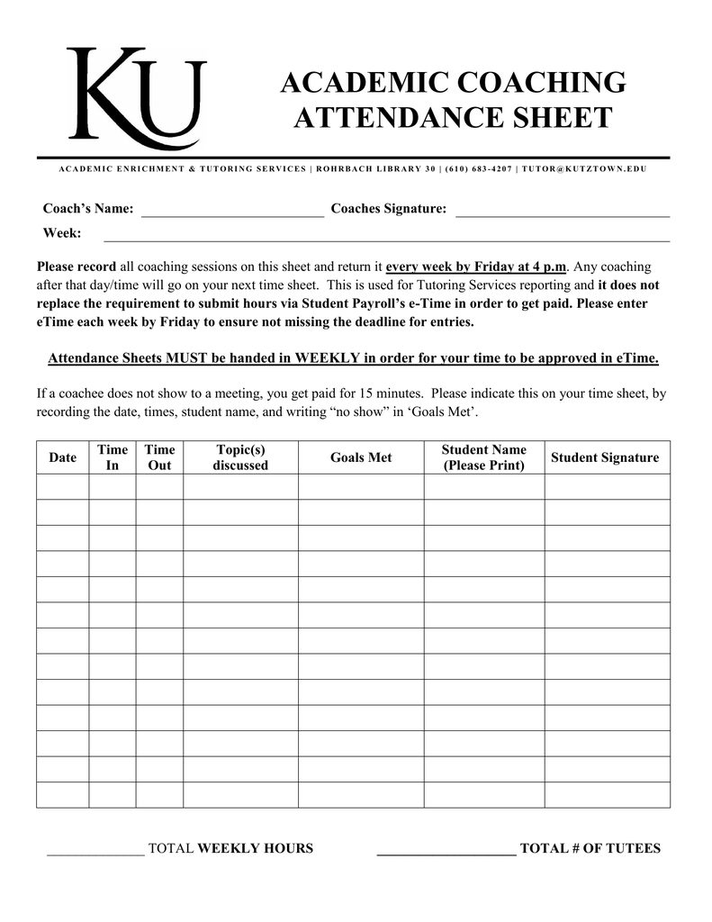 academic coaching attendance sheet