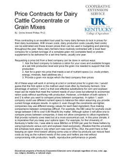 Price Contracts for Dairy Cattle Concentrate or Grain Mixes