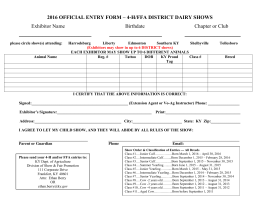 2016 OFFICIAL ENTRY FORM – 4-H/FFA DISTRICT DAIRY SHOWS