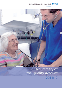 A Summary of the Quality Account 2011/12 Oxford University Hospitals