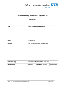 For Approval Trust Board Meeting: Wednesday 11 September 2013 TB2013.113