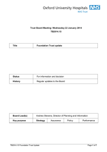 Trust Board Meeting: Wednesday 22 January 2014 TB2014.15 Title