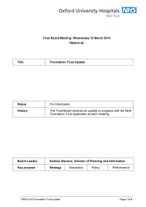 Trust Board Meeting: Wednesday 12 March 2014 TB2014.40 Title
