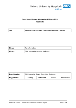 Trust Board Meeting: Wednesday 12 March 2014 TB2014.45 Title