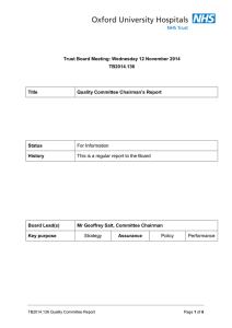 Trust Board Meeting: Wednesday 12 November 2014 TB2014.136 Title