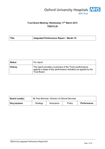 For report Trust Board Meeting: Wednesday 11 March 2015