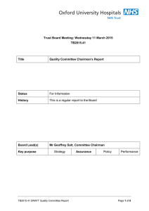 Trust Board Meeting: Wednesday 11 March 2015 TB2015.41 Title