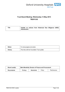 Trust Board Meeting: Wednesday 13 May 2015 TB2015.62