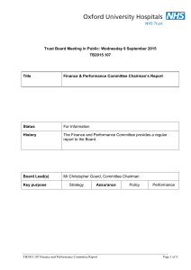 Trust Board Meeting in Public: Wednesday 9 September 2015 TB2015.107 Title