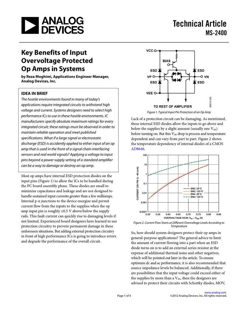 Technical Article Key Benefits Of Input Overvoltage Protected Op Amp Single Supply Opamps In Series Electrical Engineering Amps Systems
