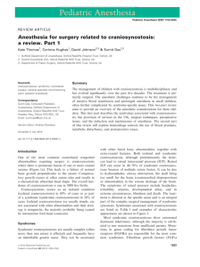 Anesthesia for surgery related to craniosynostosis: a review. Part 1 Kate Thomas