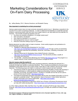 Marketing Considerations for On-Farm Dairy Processing