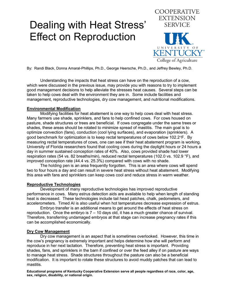 Dealing with Heat Stress Effect on Reproduction