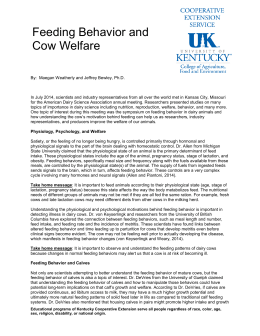 Feeding Behavior and Cow Welfare