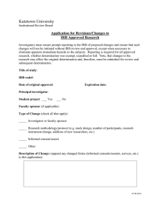 Kutztown University Application for Revisions/Changes to IRB Approved Research