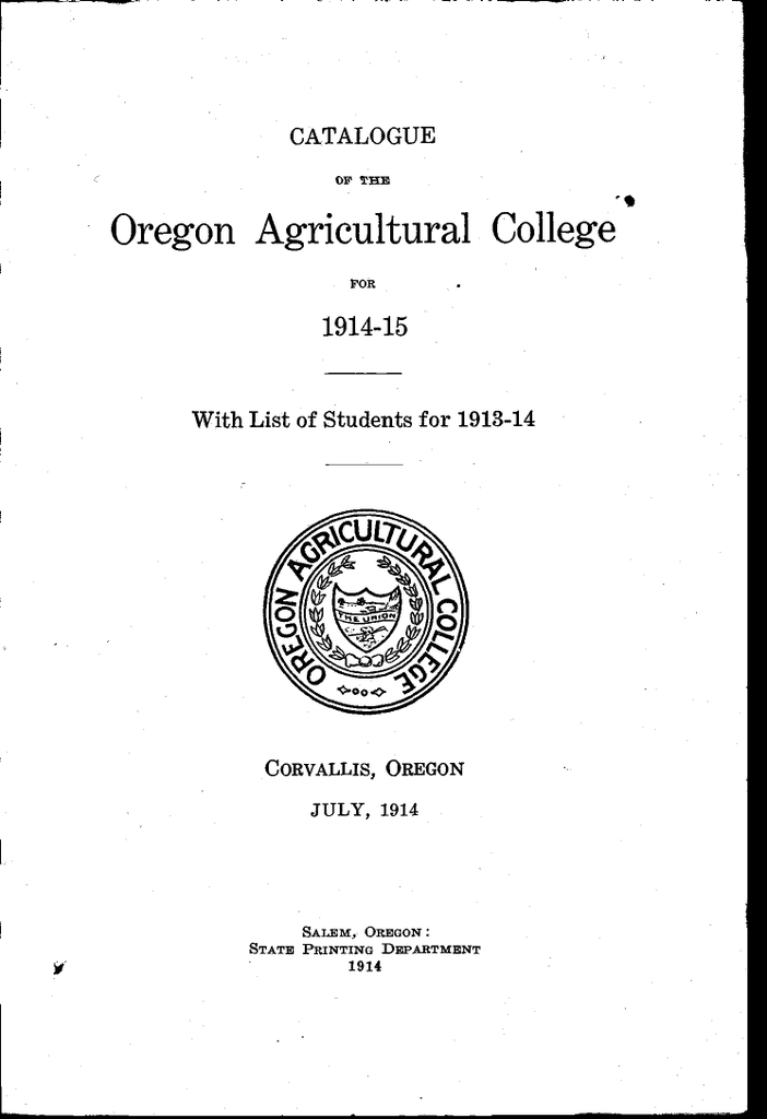 Oregon Agricultural College 191445 With List Of Students For 1913 14