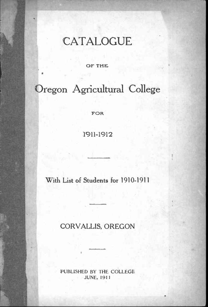 Li Catalogue Oregon Agricultural College P11 1912