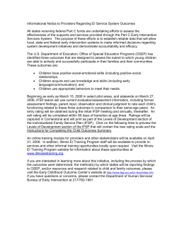 Informational Notice to Providers Regarding EI Service System Outcomes
