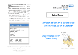 Information and exercises following back surgery Decompression/