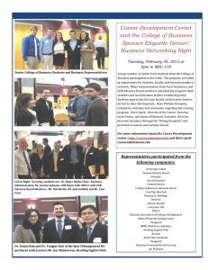 Career Development Center and the College of Business Sponsor Etiquette Dinner/