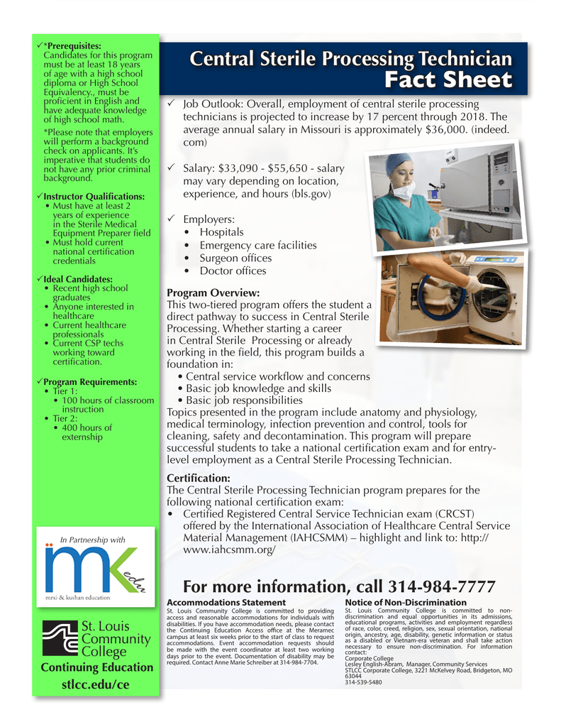 Fact Sheet Central Sterile Processing Technician