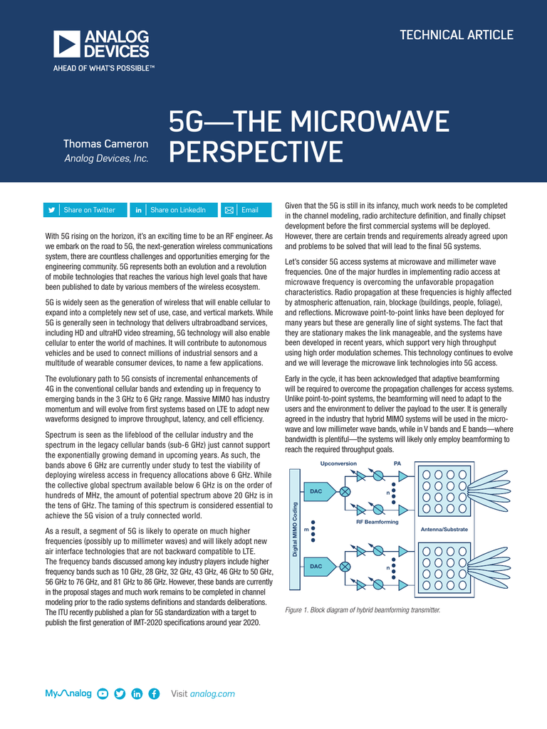 5G—THE MICROWAVE PERSPECTIVE TECHNICAL ARTICLE