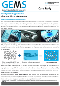 Case Study  Investigation of agglomeration of nanoparticles in polymer resins