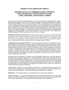 FINDING OF NO SIGNIFICANT IMPACT DEFENSE SATELLITE COMMUNICATIONS SYSTEM III