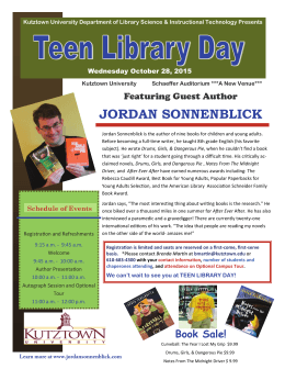 JORDAN SONNENBLICK Featuring Guest Author Wednesday October 28, 2015