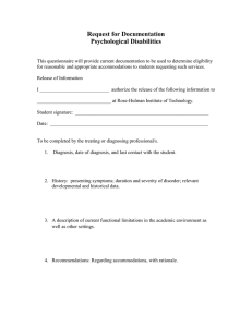 Request for Documentation Psychological Disabilities