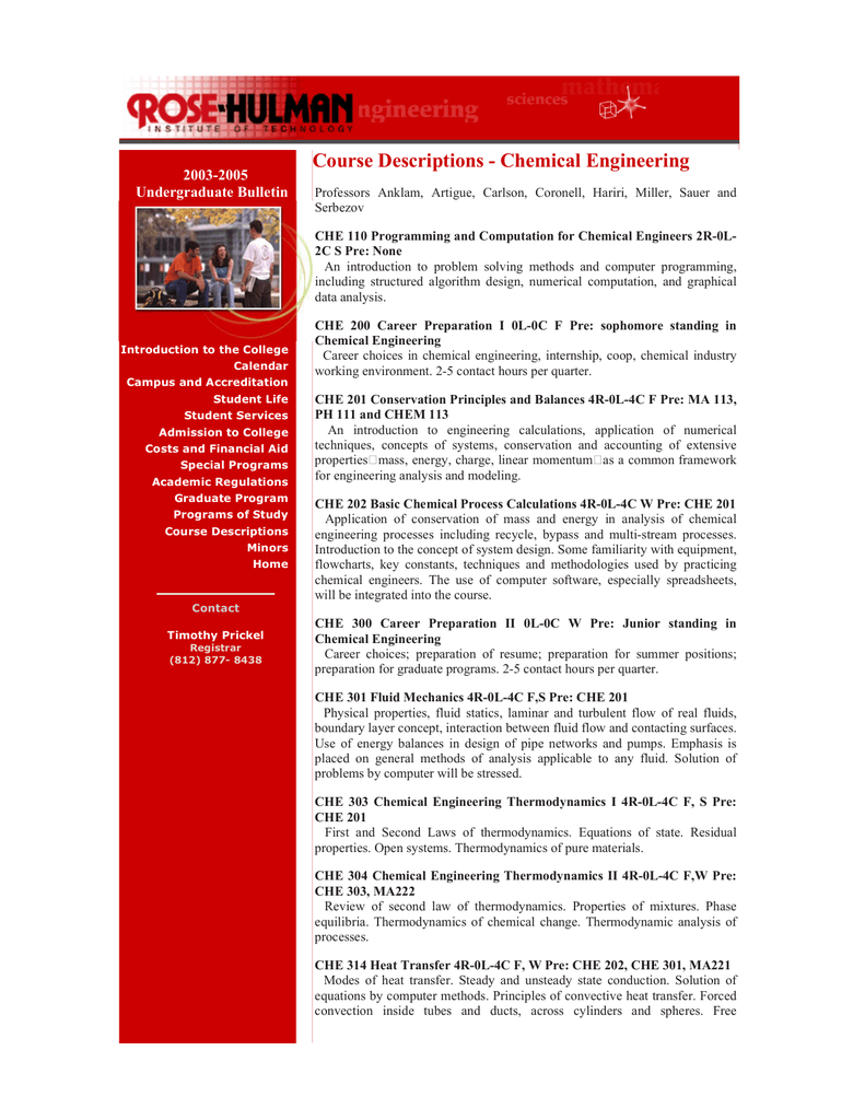 Course Descriptions Chemical Engineering 2003 2005 Undergraduate Bulletin