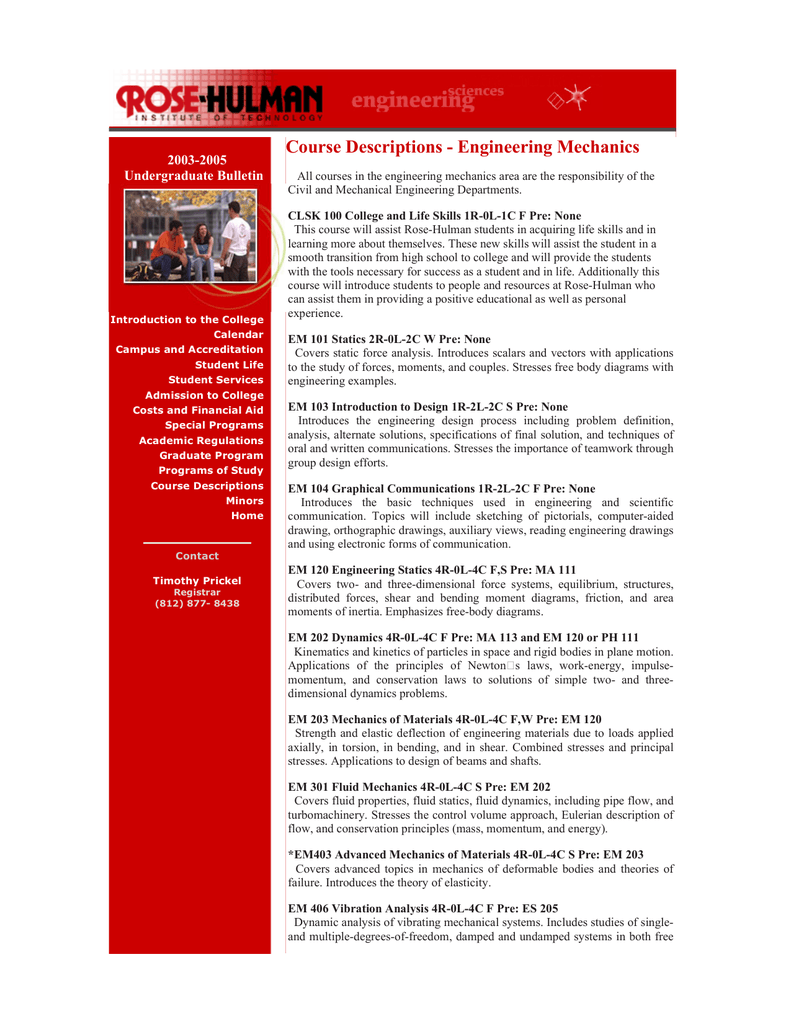 Course Descriptions Engineering Mechanics 2003 2005 Undergraduate Home Images Free Body Diagram Statics Bulletin