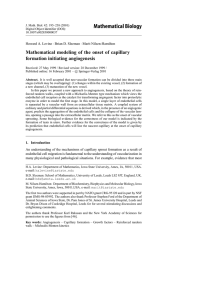 Mathematical Biology Mathematical modeling of the onset of capillary formation initiating angiogenesis