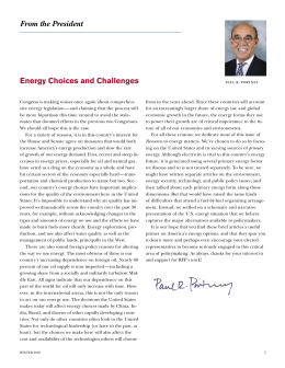 From the President Energy Choices and Challenges