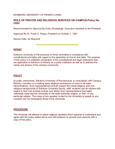 ROLE OF PRAYER AND RELIGIOUS SERVICES ON CAMPUS-Policy No. C053