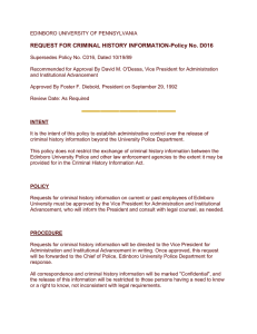 REQUEST FOR CRIMINAL HISTORY INFORMATION-Policy No. D016