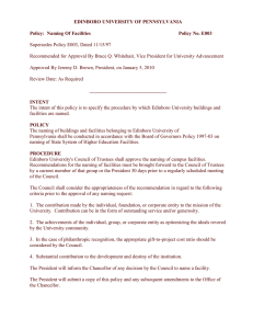 EDINBORO UNIVERSITY OF PENNSYLVANIA  Policy:  Naming Of Facilities Policy No. E003
