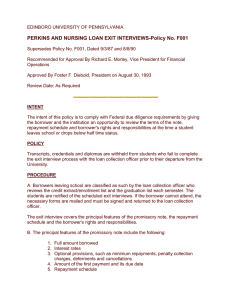 PERKINS AND NURSING LOAN EXIT INTERVIEWS-Policy No. F001