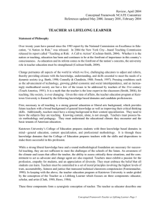 TEACHER AS LIFELONG LEARNER Review, April 2004  ,