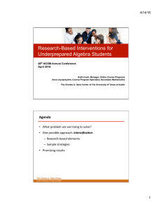 Research-Based Interventions for Underprepared Algebra Students 4/14/16
