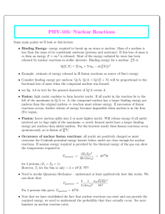 PHY-105: Nuclear Reactions