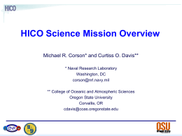 HICO Science Mission Overview Michael R. Corson* and Curtiss O. Davis**