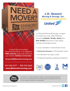 J.H. Bennett Moving & Storage, an agent students moving and storage services.