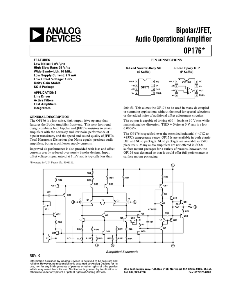 A Bipolar Jfet Audio Operational Amplifier Op176 Ac Coupling And Offset Voltage In