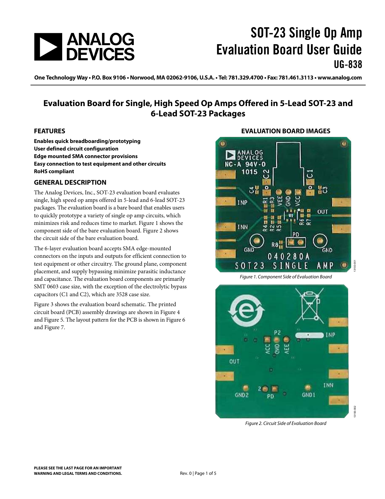 Sot 23 Single Op Amp Evaluation Board User Guide Ug 838 Circuit We Assemble With The Exception Of Rohscompliant Boards