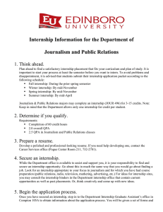 Internship Information for the Department of Journalism and Public Relations